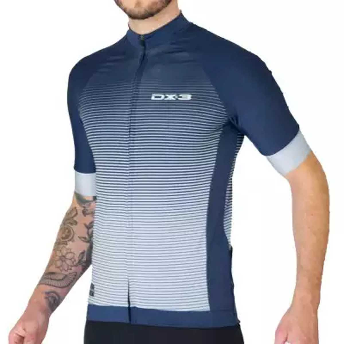 Camisa DX3 Masculina Fast 04 Azul e Cinza Ciclismo 21