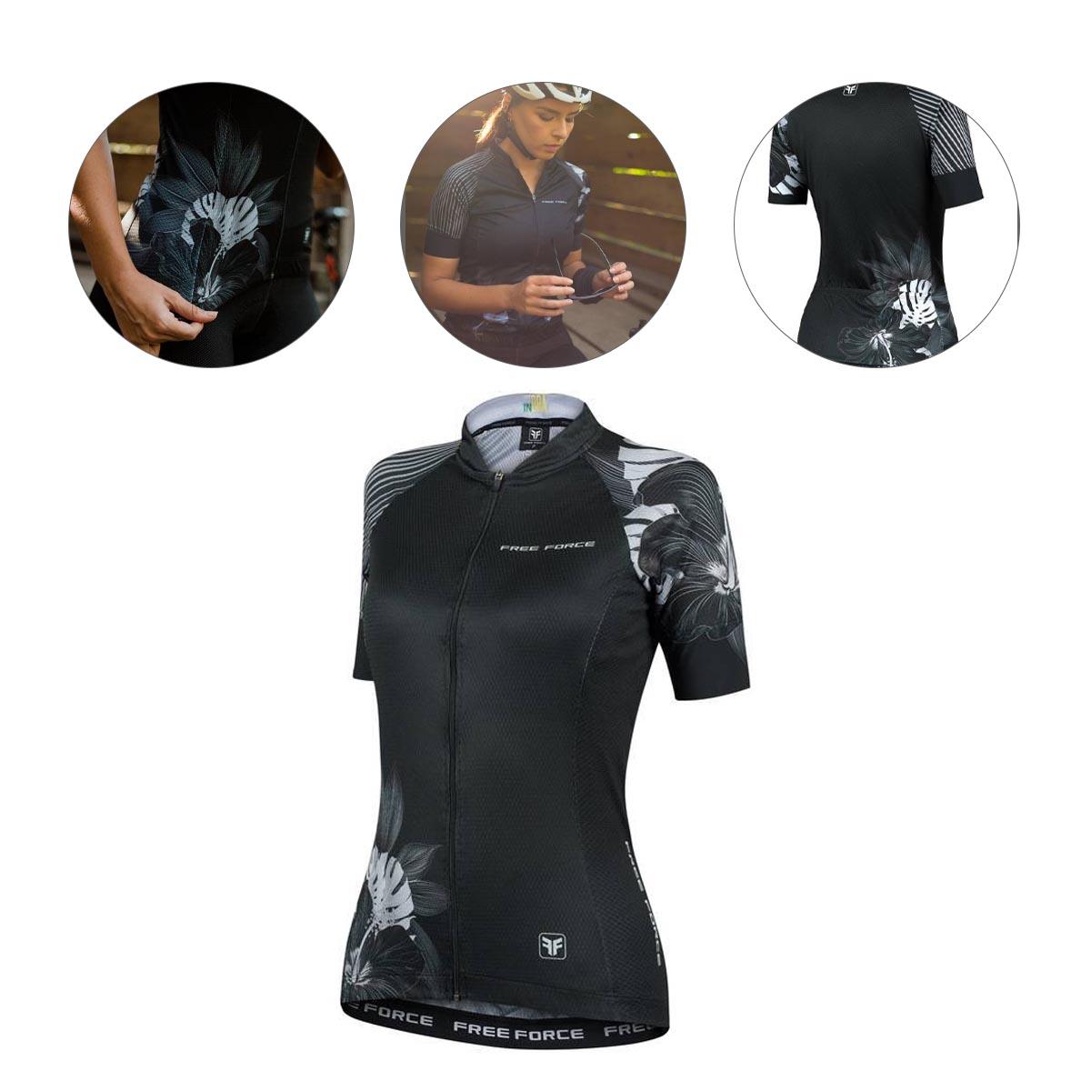 Camisa Freeforce Feminina Sport Hibis Preta e Cinza Ciclismo 21