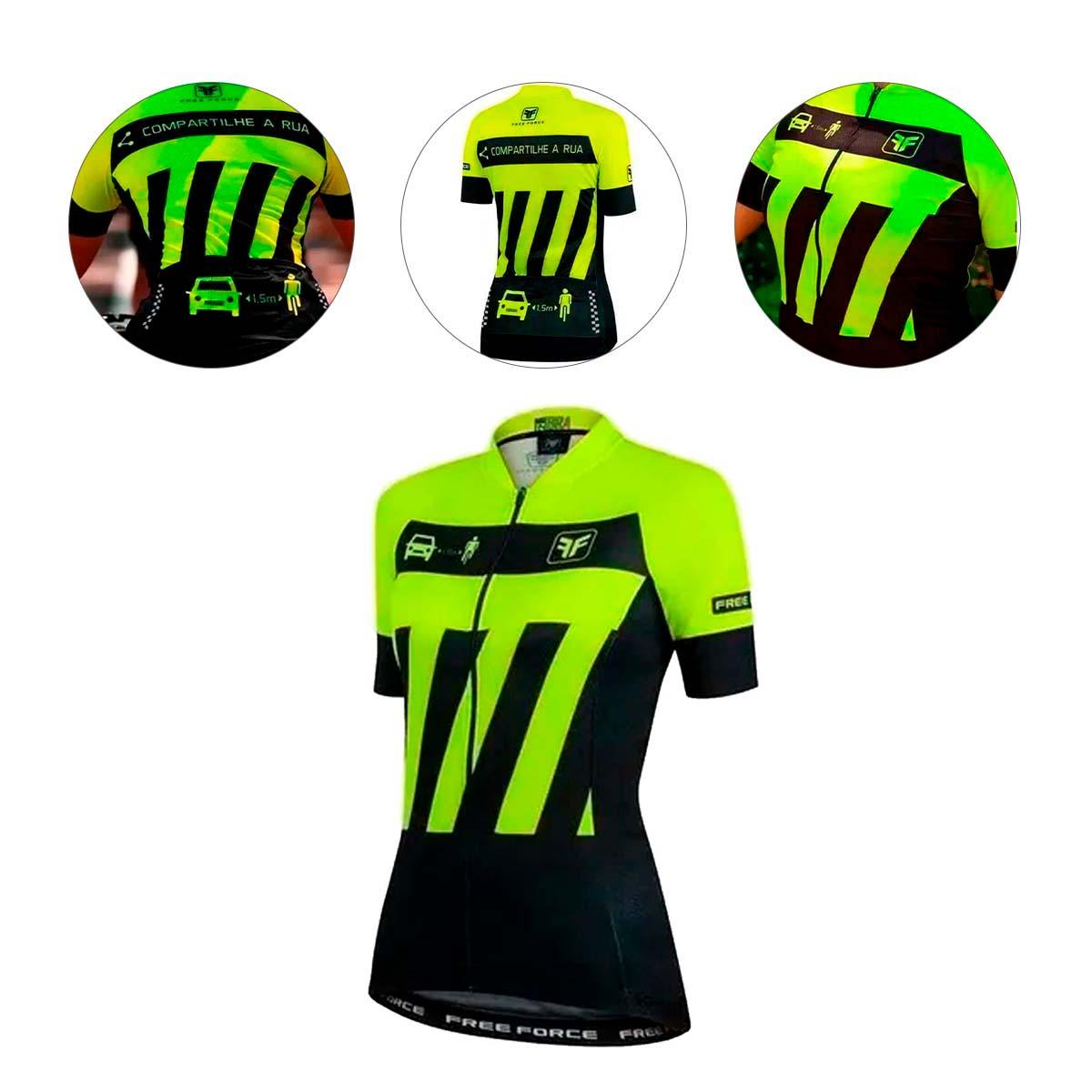 Camisa Freeforce Feminina Sport Transit Amarela Fluor e Preta Ciclismo 21