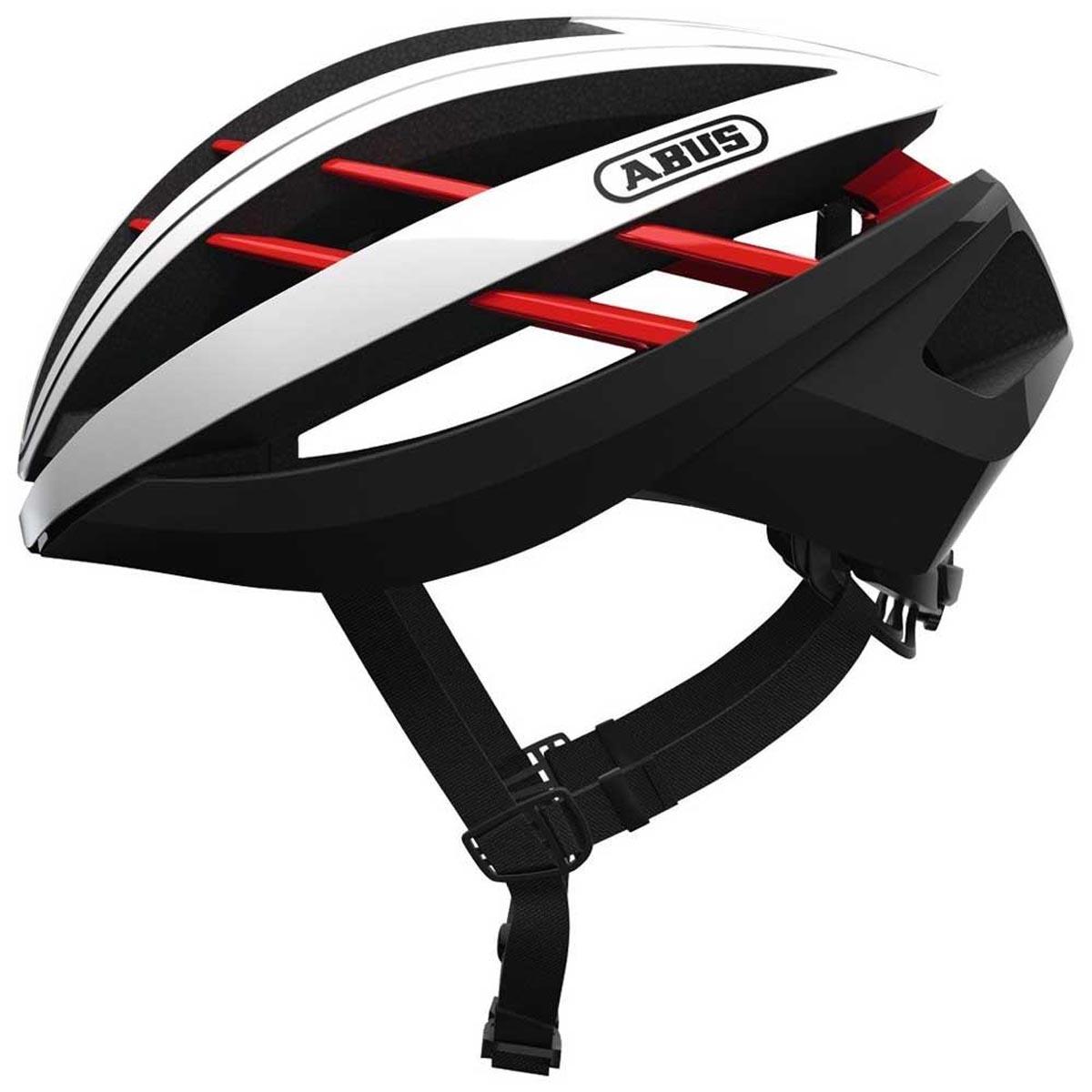 Capacete Abus Aventor Branco Vermelho e Preto Ciclismo Bike