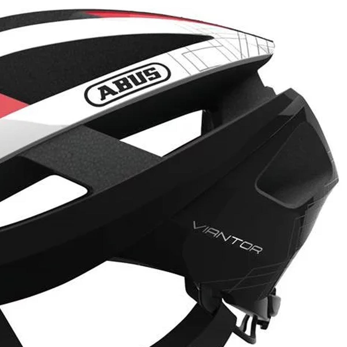 Capacete Abus Viantor Branco Vermelho e Preto Ciclismo Bike