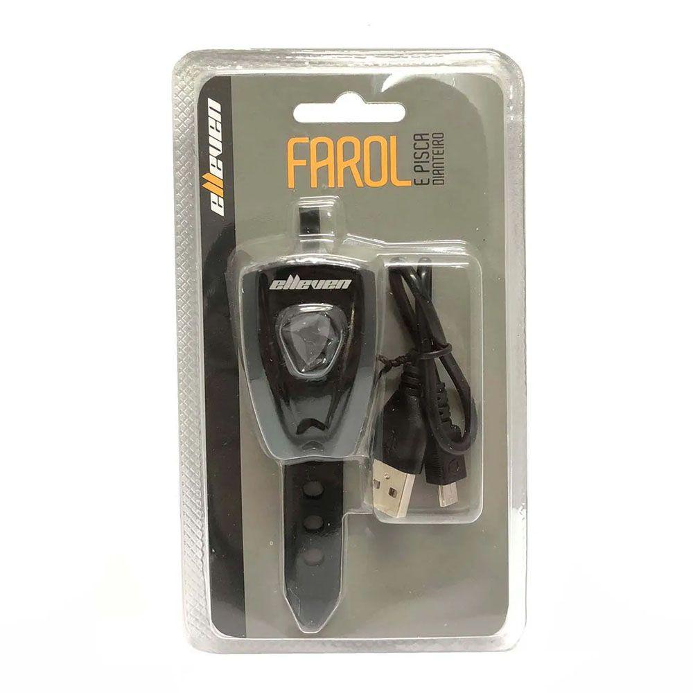 FAROL DIANTEIRO ELLEVEN 3 FUNCOES 2 LEDS 0.5W PRETO CARGA VIA USB
