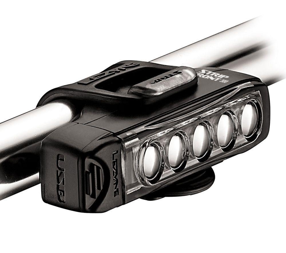 KIT DE FAROL DIANTEIRO E TRASEIRO LEZYNE STRIP DRIVE V204 300/150 LUMENS 27/30 HORAS VIA USB PRETO