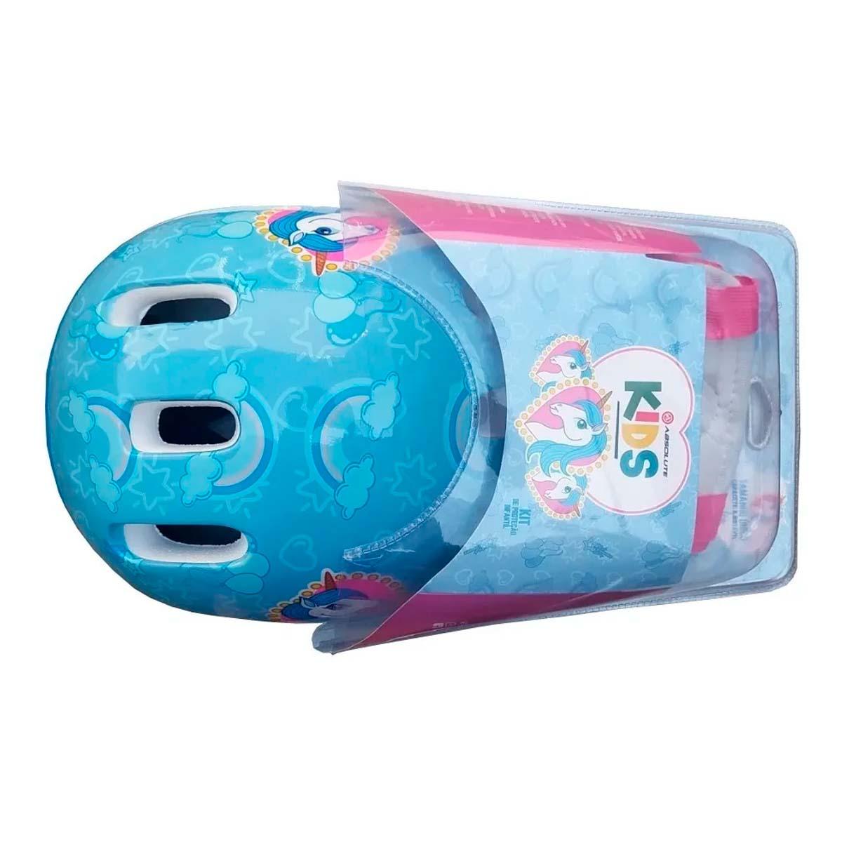 Kit de Protecao Infantil Absolute Kids Unicornio Azul Capacete Joelheira Cotoveleiras Tam Único