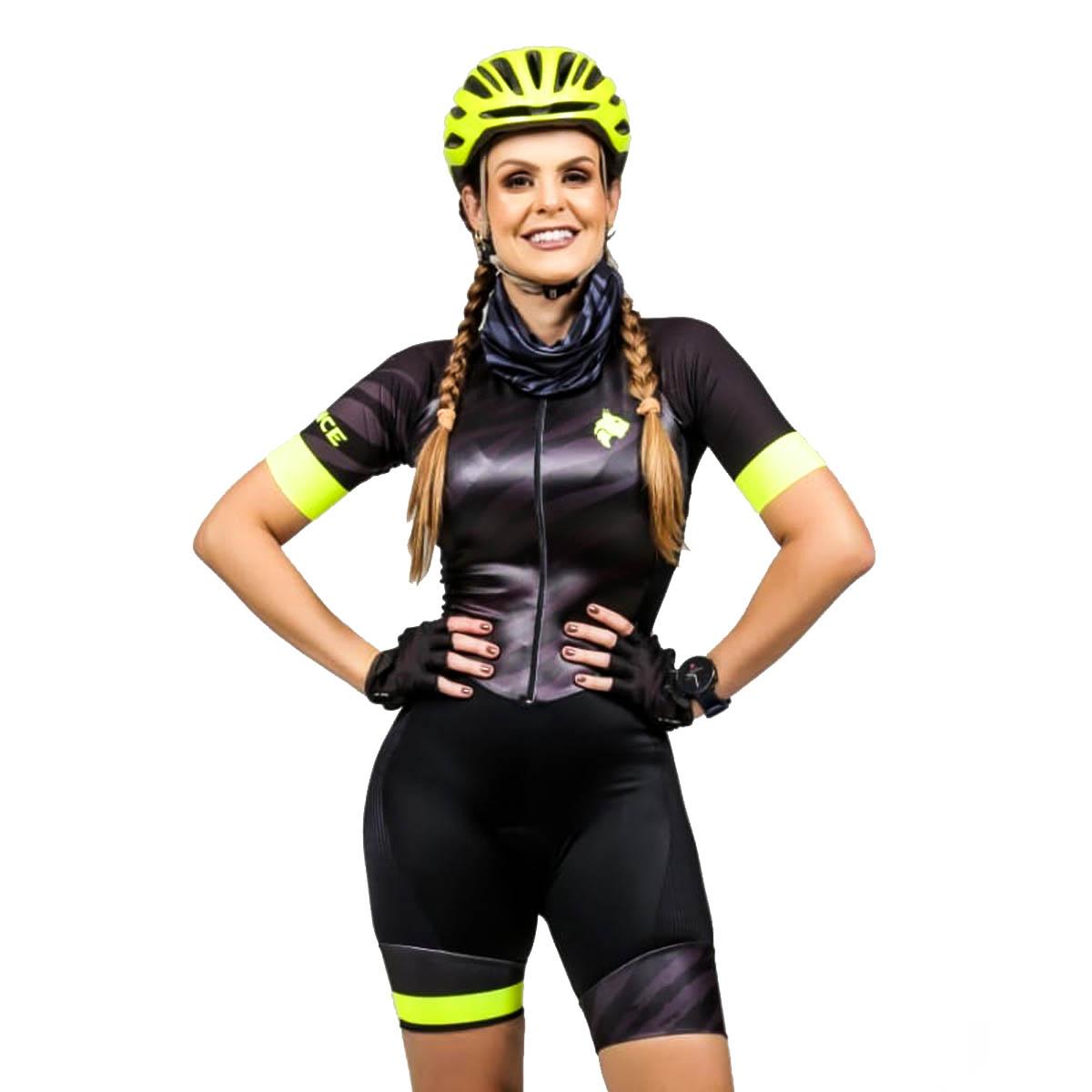 Macaquinho Lynce Feminino Black Zebra Preto Ciclismo