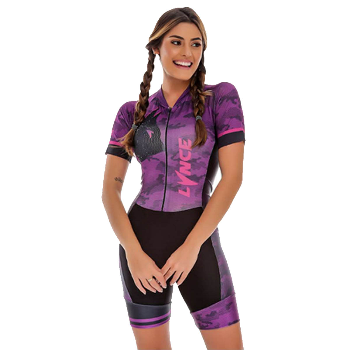 Macaquinho Lynce Feminino Curves Lilas Night com Pedras Preto Ciclismo