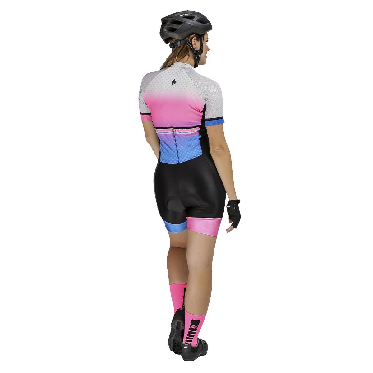 Macaquinho Lynce Feminino Pink Gradiente Square com Pedras Ciclismo