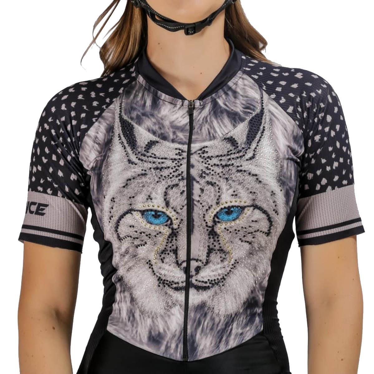Macaquinho Lynce Feminino Sapphire Eye Animal Print com Pedras Preto Ciclismo