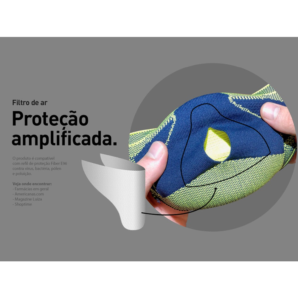 MASCARA DE PROTECAO FIBER KNIT BRANCA TECNOLOGIA 3D LAVAVEL COM FILTRO