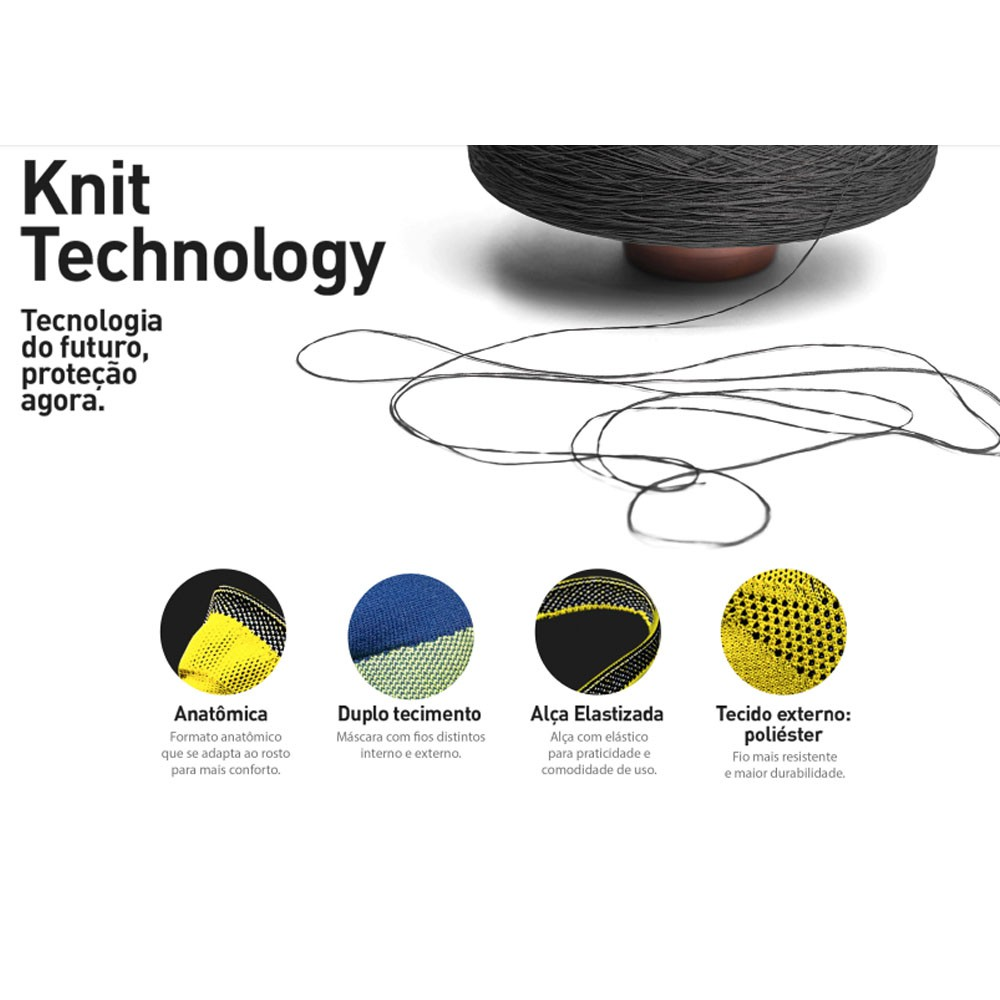 MASCARA DE PROTECAO FIBER KNIT LILAS TECNOLOGIA 3D LAVAVEL COM FILTRO