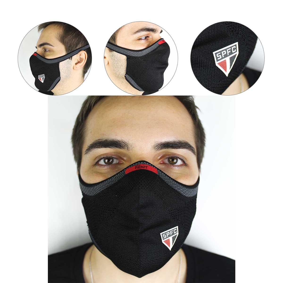 Mascara de Protecao Fiber Knit São Paulo Oficial 3d Lavavel