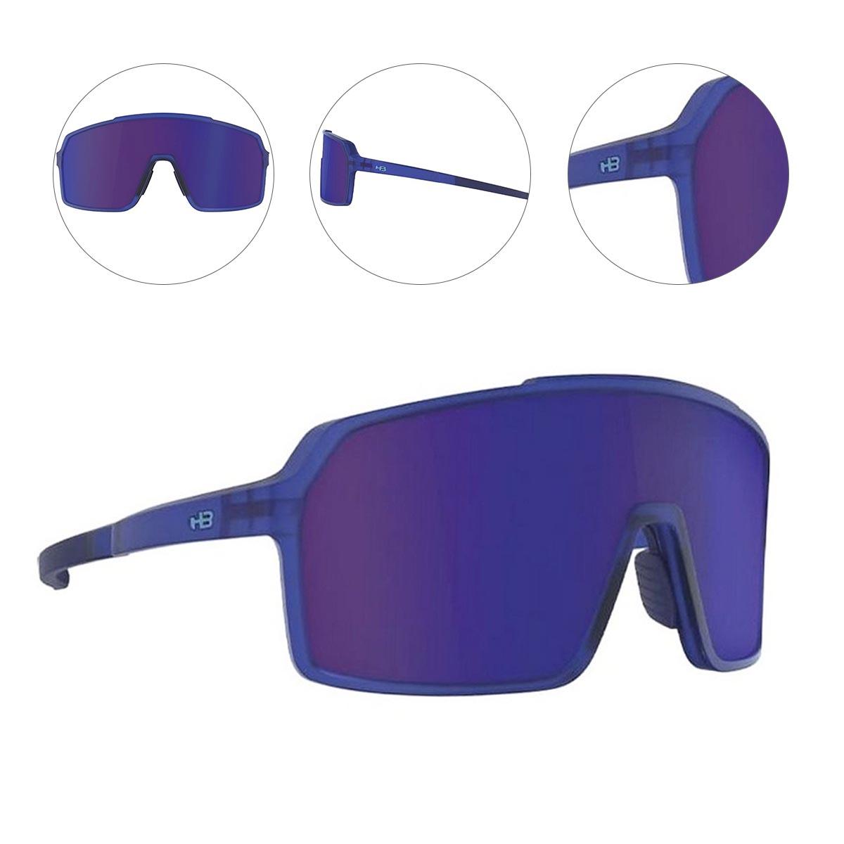 Oculos para Ciclismo HB Grinder Azul Fosco Clear Lente Azul Chrome Espelhada