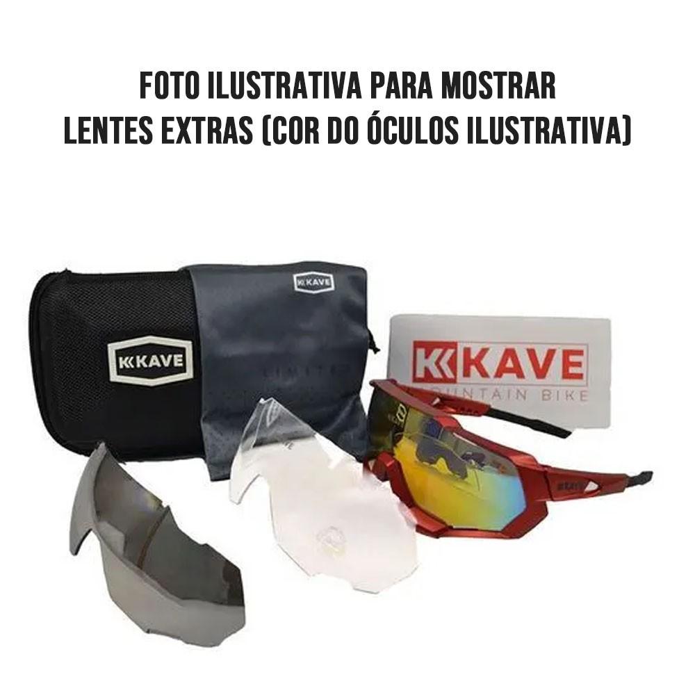OCULOS PARA CICLISMO KAVE SPARK PRETO COM 3 LENTES E CLIP DE GRAU