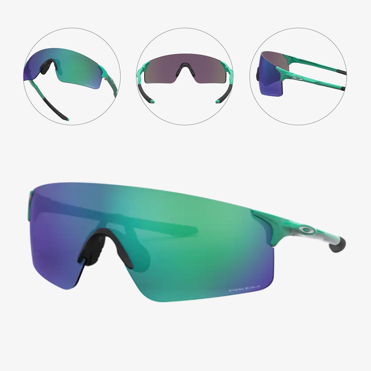 Oculos Para Ciclismo Oakley Ev Zero Blades Verde Celeste Com Lente Prizm Jade Espelhada Verde