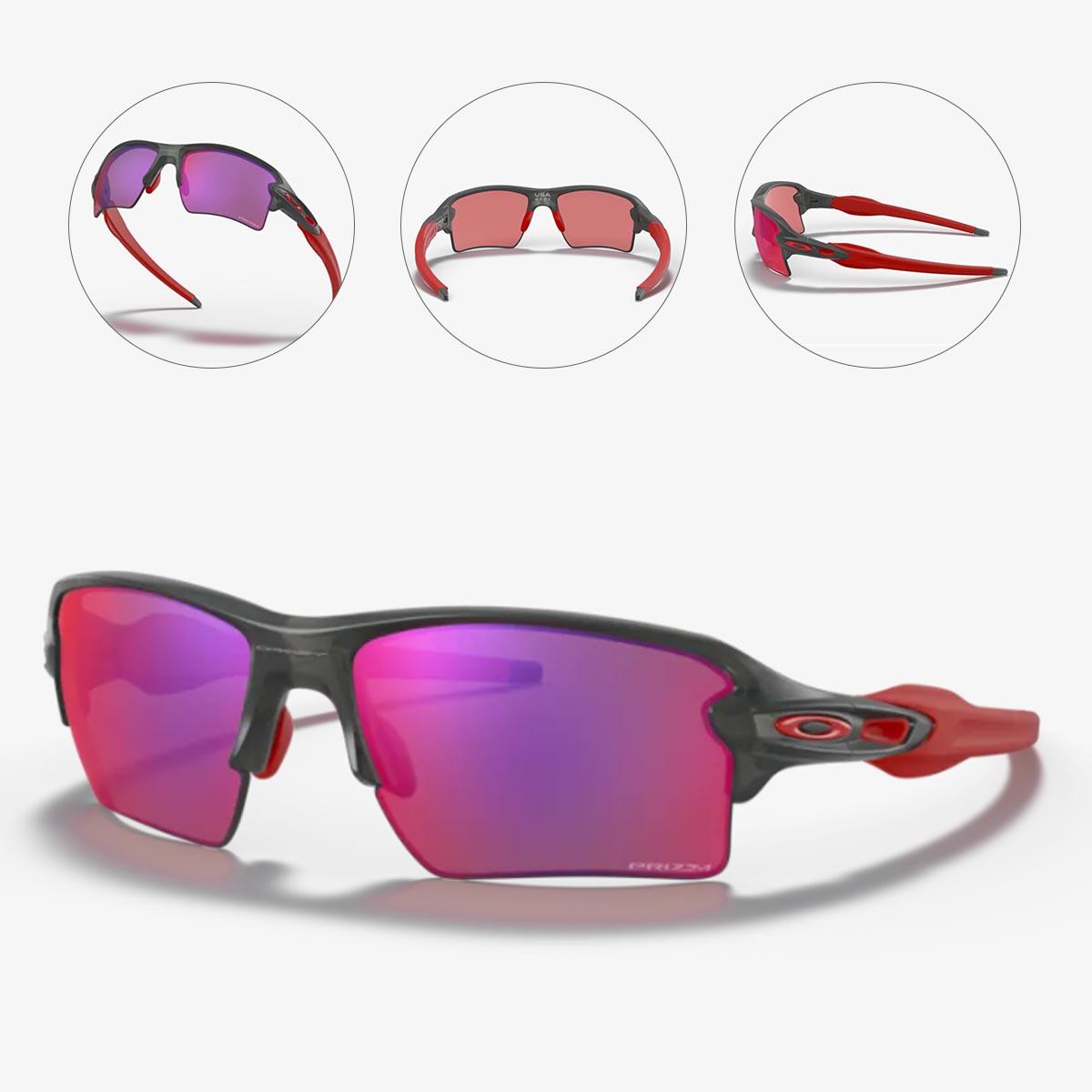 Oculos Para Ciclismo Oakley Flak 2.0 XL Cinza e Vermelho Com Lente Prizm Road Espelhada Vermelha