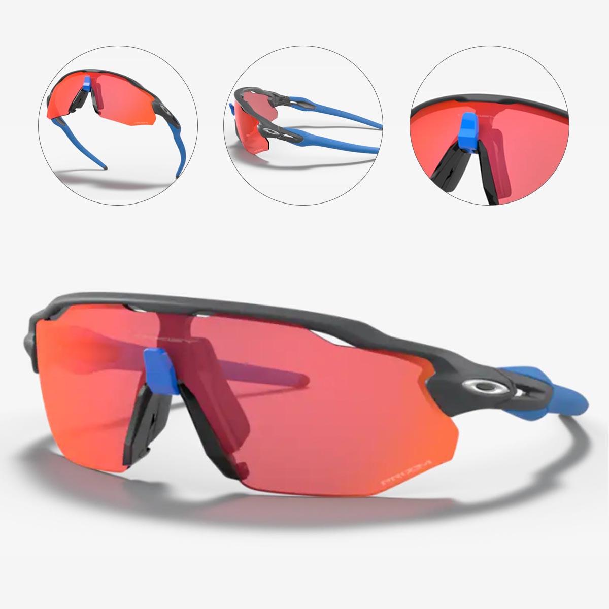 Oculos Para Ciclismo Oakley Radar Ev Advancer Cinza Carbon Fosco e Azul com Lente Prizm Trail Torch Espelhada Vermelha