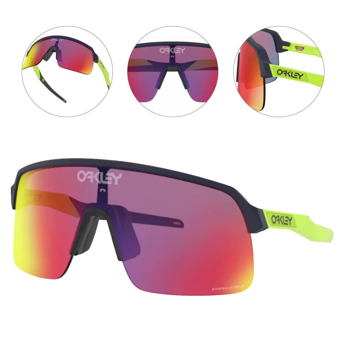 Oculos Para Ciclismo Oakley Sutro Lite Matte Navy Retina Burn com Lente Prizm Road Espelhada Vermelha