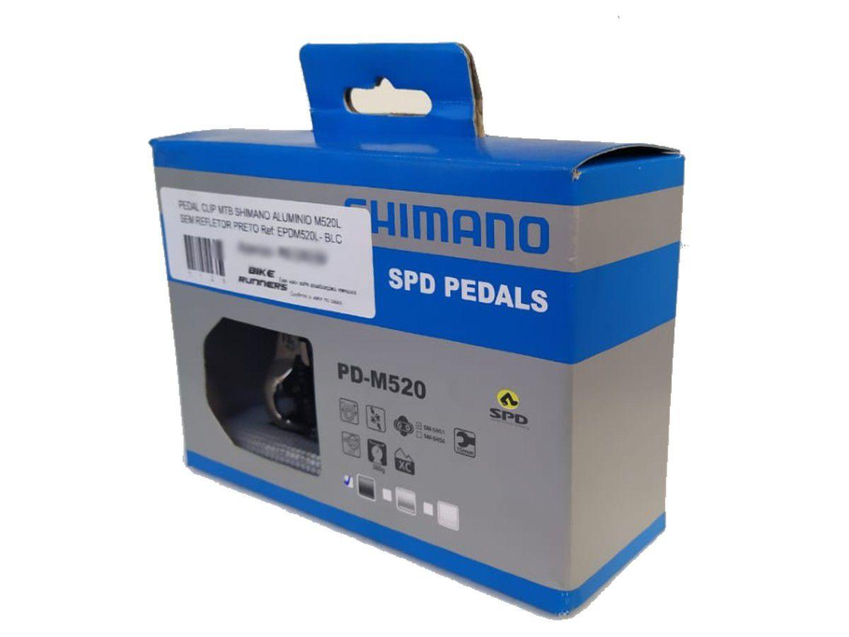 PEDAL CLIP MTB SHIMANO ALUMINIO M520L SEM REFLETOR PRETO Ref: EPDM520L- BLC