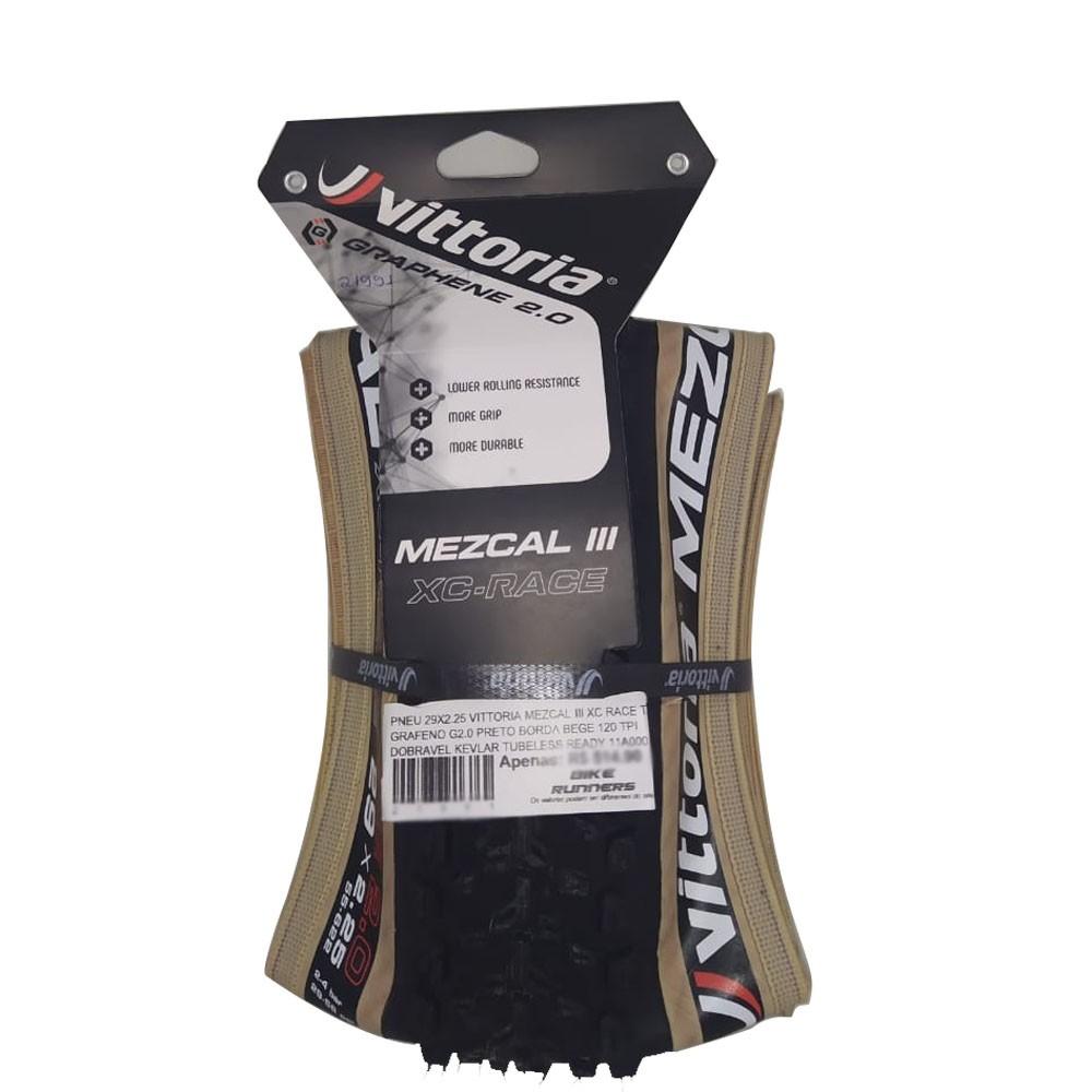 PNEU 29X2.25 VITTORIA MEZCAL III XC RACE TLR GRAFENO G2.0 PRETO BORDA BEGE 120 TPI DOBRAVEL KEVLAR TUBELESS READY 11A000