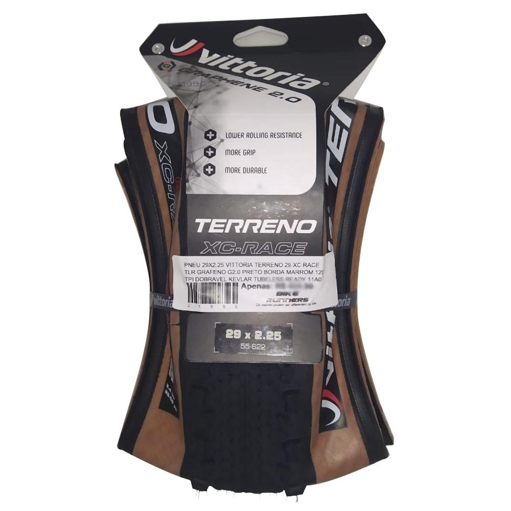PNEU 29X2.25 VITTORIA TERRENO 29 XC RACE TLR GRAFENO G2.0 PRETO BORDA MARROM 120 TPI DOBRAVEL KEVLAR TUBELESS READY 11A0