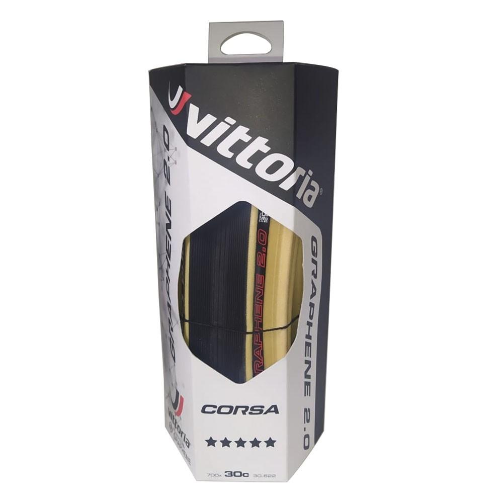 PNEU 700X30 VITTORIA CORSA GRAFENO G2.0 PRETO BORDA BEGE 320 TPI DOBRAVEL KEVLAR 11A00219