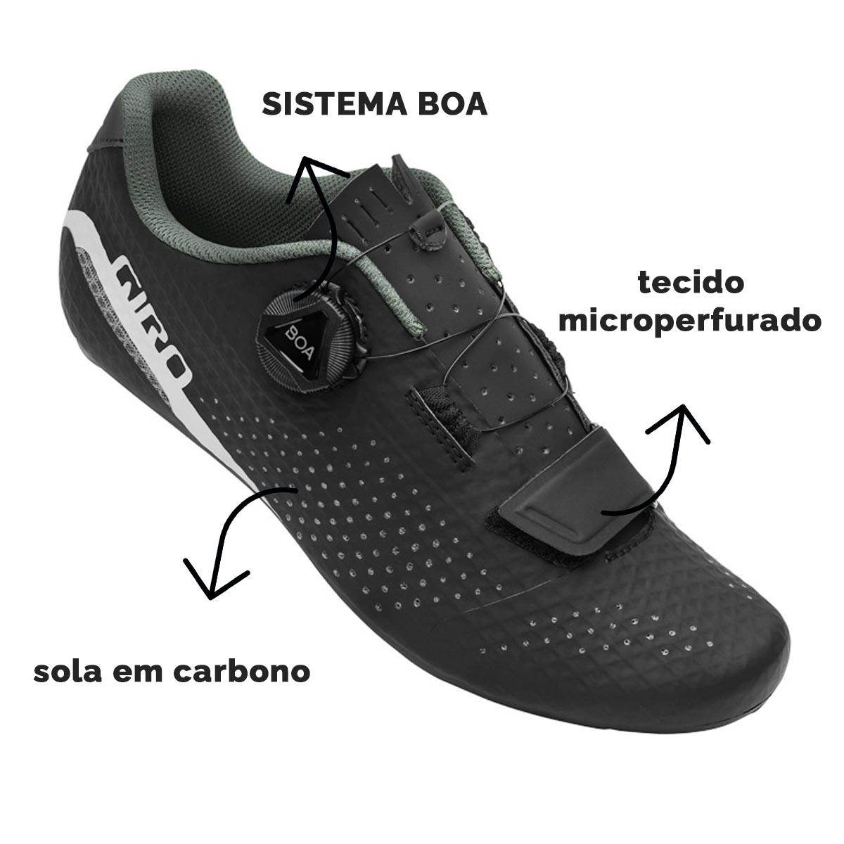 SAPATILHA SPEED GIRO FEMININA CADET SOLADO CARBONO COM BOA PRETA - ISP