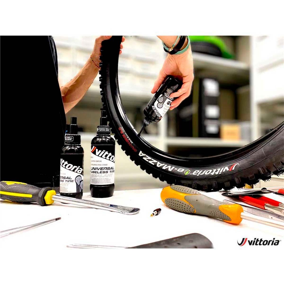 Selante Vittoria Universal Tubeless Tire 250ml com Plaquetas Para Vedar Furos Maiores