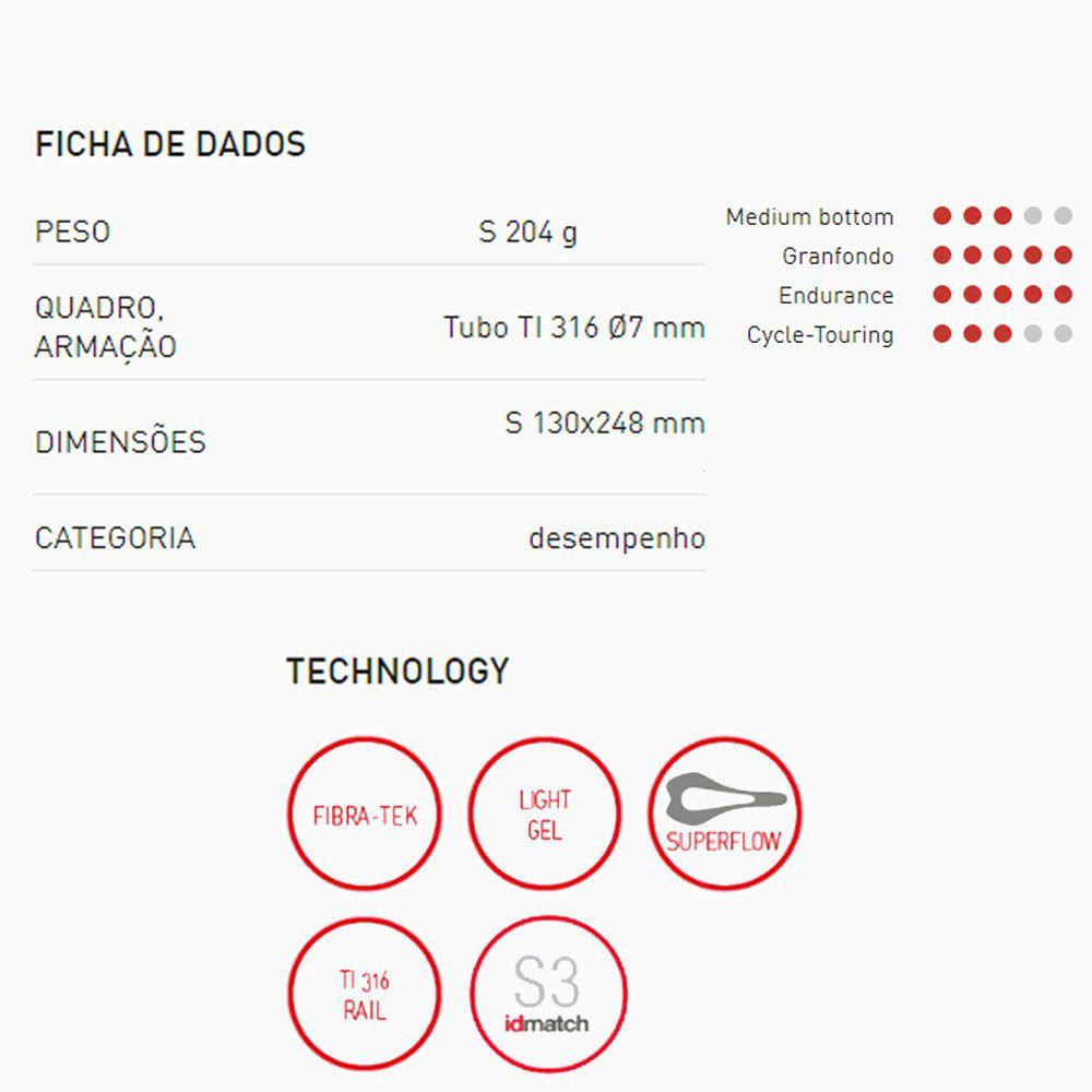 SELIM SELLE ITALIA SLR BOOST ENDURANCE TRILHO TITANIUM TAM S3 204G 130X248MM (041A420IKC004)