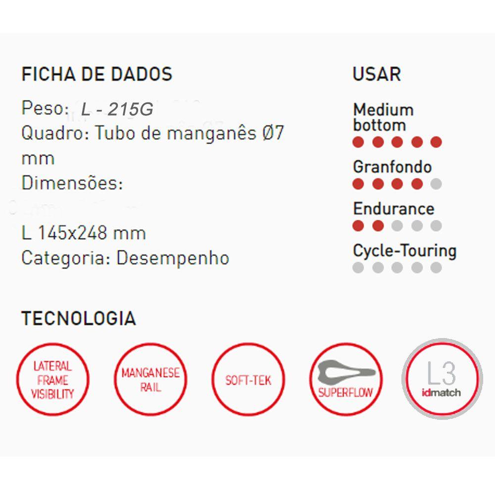 SELIM SELLE ITALIA SLR BOOST TM SUPERFLOW L3 TRILHO MANGANES 215G.