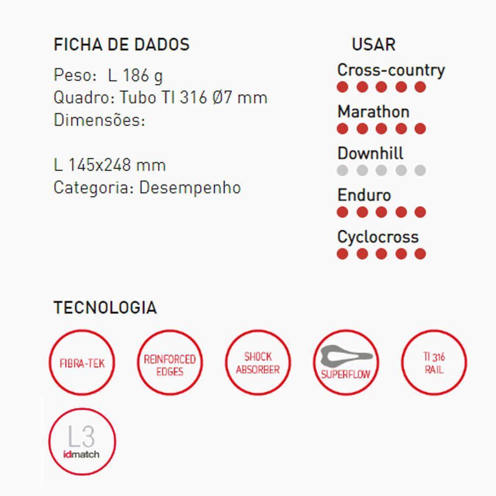 SELIM SELLE ITALIA SLR BOOST X-CROSS TRILHO TITANIUM TAM L3 186G 248X145MM (041A720IKC002)