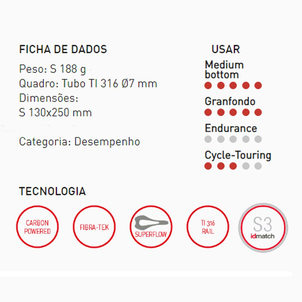SELIM SELLE ITALIA SP-01 BOOST SUPERFLOW TRILHO TITANIUM TAM S3 188G 250X130MM (067A801IKC001)