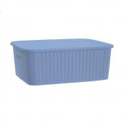 Caixa Organizadora com Tampa Pequena Rattan Azul Multisuso 5L