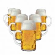 Caneca de Chopp de Vidro Cerveja Degustação Mini Mass Krug 50ml 6 Pcs