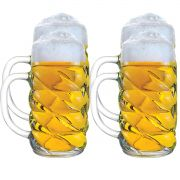 Caneca de Chopp de Vidro ou Cerveja Mass Krug Diamond Kit c/ 04