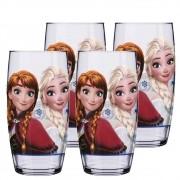 Copo de Água Vidro Reto Anna e Elza Disney 430ml QE Ruvolo 4Pcs