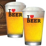 Copo Cerveja de Vidro Caldereta M 350ml I Love Beer
