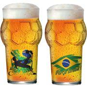 Copo de Cerveja de Vidro Pint Bola Copa do Mundo Futebol Força Brasil 580ml - 2 Pcs