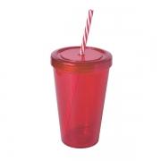 Copo Plástico com Tampa de Rosca e Canudo Vermelho 700ml