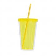 Copo Plástico com Tampa de Rosca e Canudo Duplo Amarelo 550ml