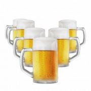 Caneca de Chopp de Vidro Cerveja Brema G Canelada 500ml 6 Pcs