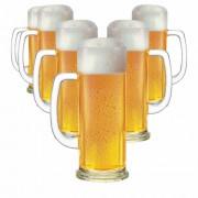 Caneca de Chopp de Vidro Cerveja Europa M 620ml 6 Pcs