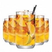 Jogo Copos Água Suco New York Long Drink Vidro 350ml 6 Pcs
