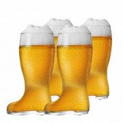 Copo de Cerveja de Vidro Formato de Bota Stiefel M 620ml 4 Pcs