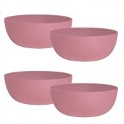 Jogo de Bowl de Plástico  Tigela de Plástico Grande Rosê 1.1L 4Pcs