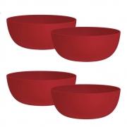 Jogo de Bowl de Plástico  Tigela de Plástico Grande Vermelho 1.1L 4Pcs