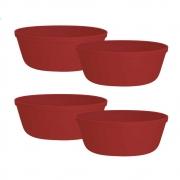 Jogo de Bowl de Plástico  Tigela de Plástico Pequeno Vermelho 450ml 4Pcs
