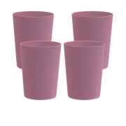 Jogo de Copo Plástico Sem Borda Rosê 550ml 4 Pcs
