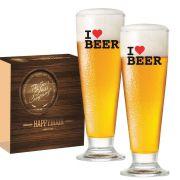 Jogo de Copos de Cerveja Tulipa Vidro de 300ml I Love Beer 2 pcs