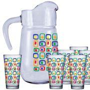Jogo de Copos de Suco e Água Conjunto Dinamarca Cubic 7 Pcs 1.5 Litros