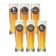 Jogo de Copos para Cerveja Frases Rótulo Genebra 400ml 6 Pcs